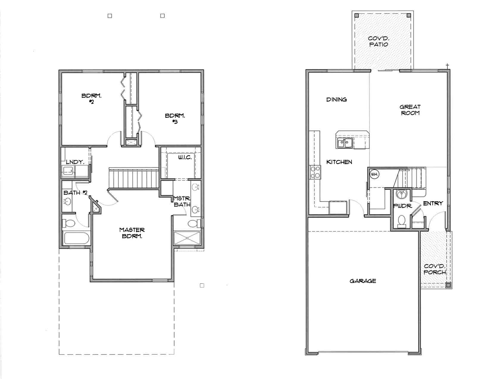Floorplan elevations southcreek patio homes Patio home plans